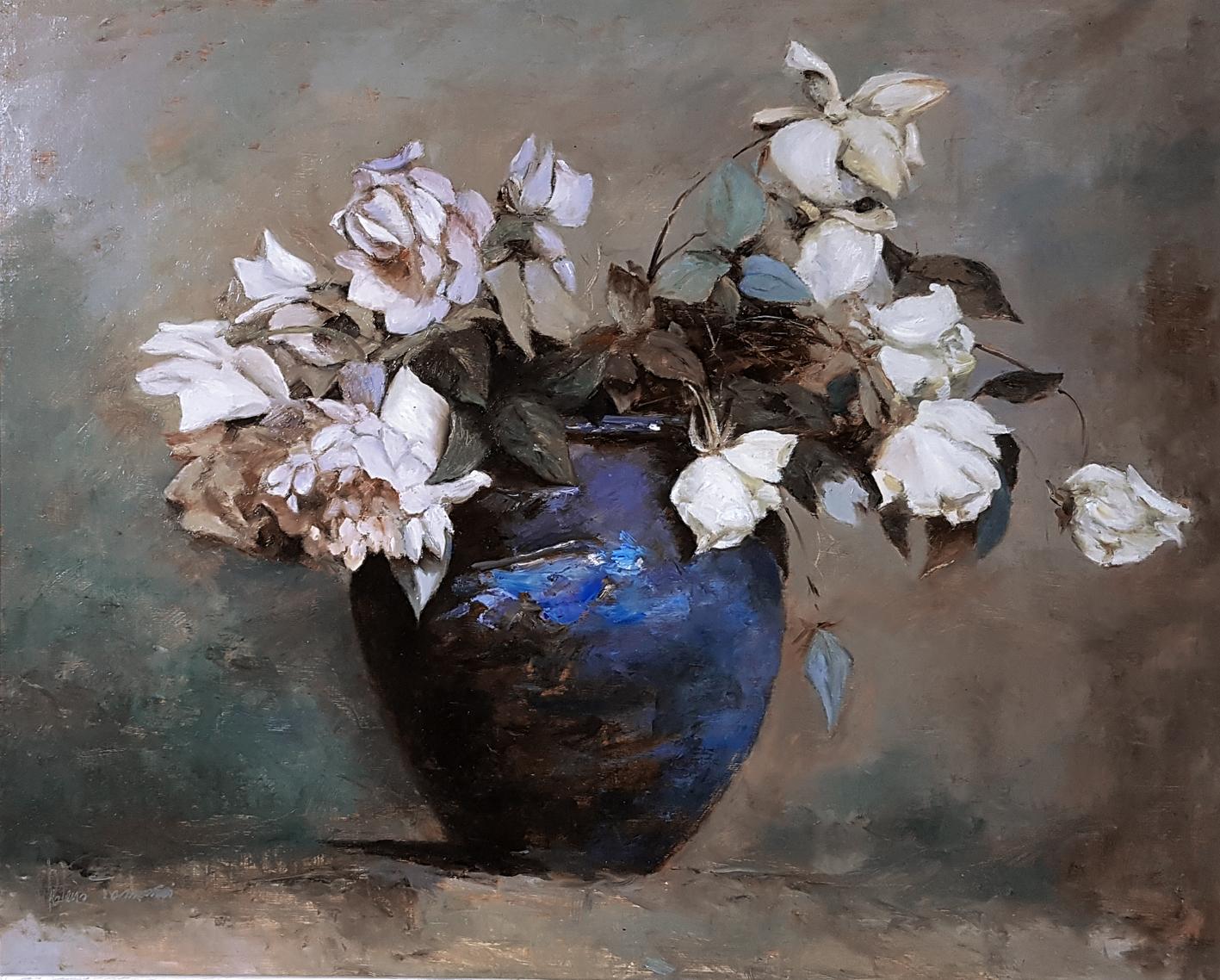 Vaso di rose olio su tavola 40x50
