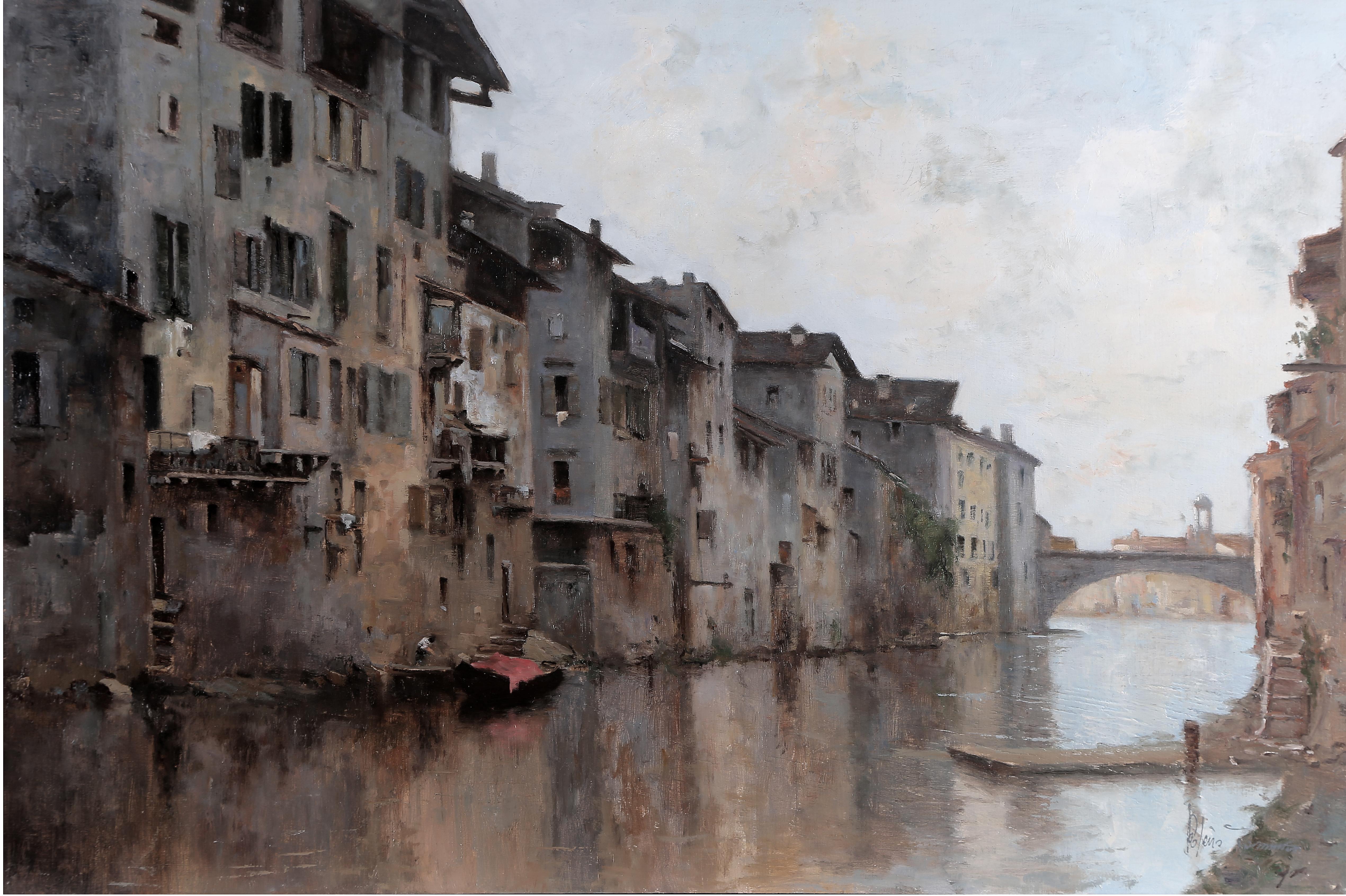 Verona scomparsa (l'Adigetto) olio su tavola 40x60